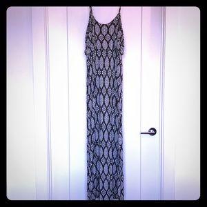 Black and white pattern maxi dress